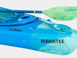 Close-up of L.L.Bean Manatee Kayak and Paddle.
