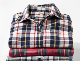 Stack of L.L.Bean flannel shirts.
