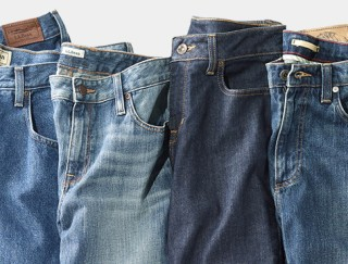Close-up of four L.L.Bean Jeans laying side-by-side.
