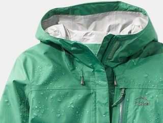 Close-up of L.L.Bean Hooded Rain Jacket.