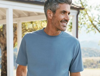 Close-up of smiling man wearing an L. L. Bean unshrinkable t-shirt.