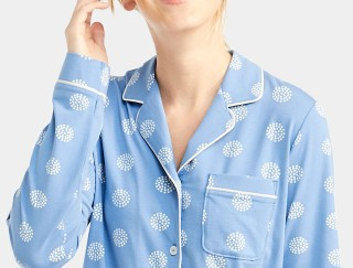 Close-up of woman wearing flannel pajamas