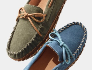 Close-up of two styles of Wicked Good slipper mocs.