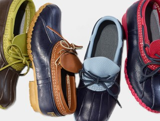Close-up of four different colored Bean Boot Rubber Mocs.