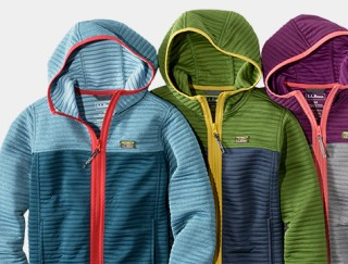 Close up laydown of three zip-up fleece jackets