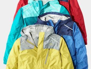 Close-up laydown of four kids' hooded Jackets.