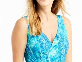 Close-up of woman wearing L. L. Bean swimwear