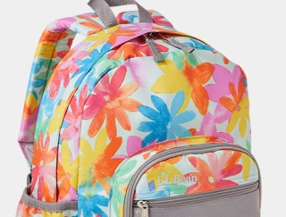 Close-up of colorful backpack.