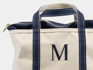 Close-up of monogrammed Boat & Tote.