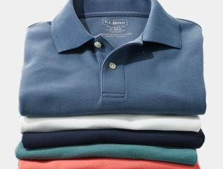 Stack of men's polo shirts.