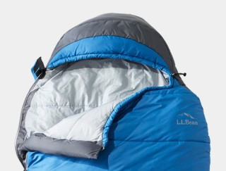 Top of partially unzipped sleeping bag.