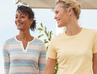 Close-up of 2 women wearing L. L. Bean t-shirts.