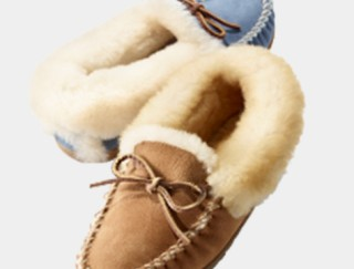 2 slippers, 1 brown, 1 blue.