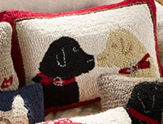 Home decor hooked pillow featuring 2 labrador retrievers.