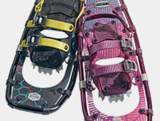 Close-up of 2 snowshoes.