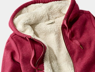 Close-up of fleece-lined hooded sweatshirt.