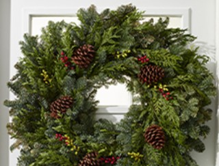 Holiday wreath on a door.