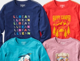 Close-up of 4 kids' graphic t-shirts.
