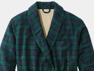 Close-up of men's flannel bathrobe.