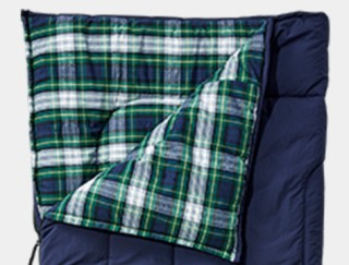 Close-up of flannel-lined sleeping bag.
