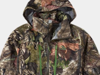 Close-up of hooded camoflage hunting jacket.