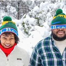 Couple in winter scene