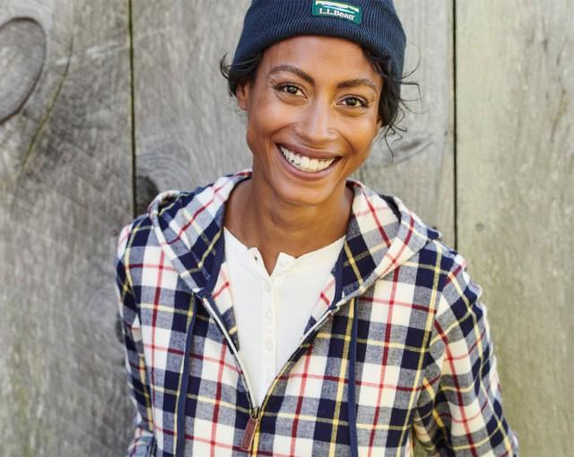 Woman wearing flannel shirt