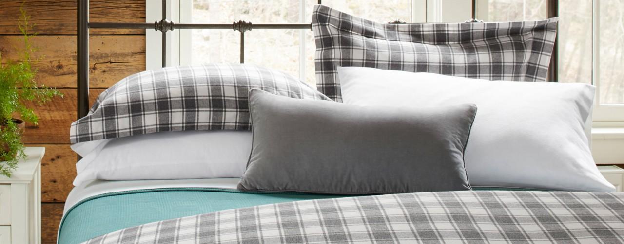 Bedroom scene with flannel bedding