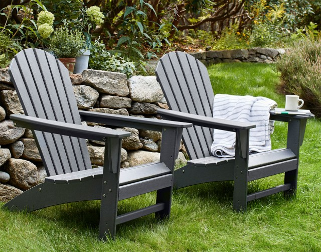 Two outdoor chairs in the yard