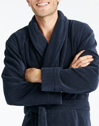 Man wearing cozy robe