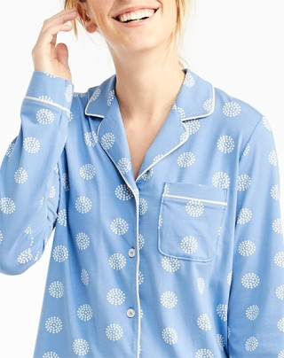 Woman wearing cozy pajamas