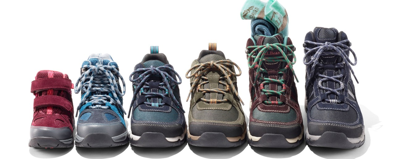 line-up of 6 hiking boots