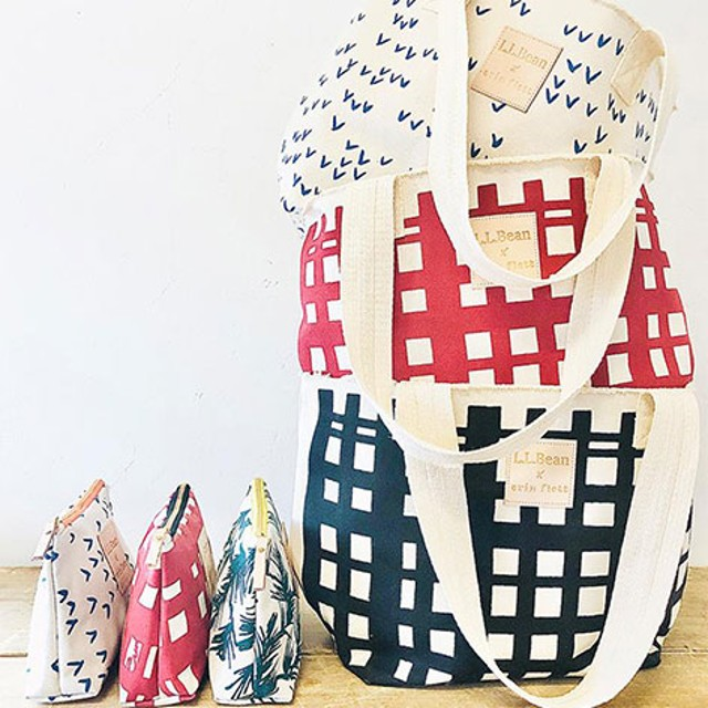 Three Erin Flett hand bags and three Erin Flett tote bags
