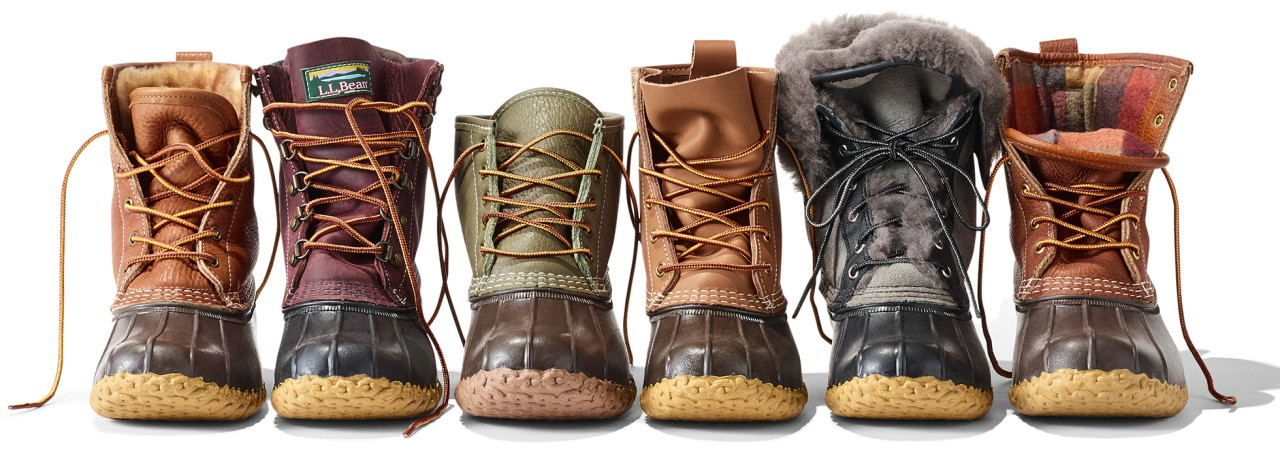 Line-up of six different Bean Boots.