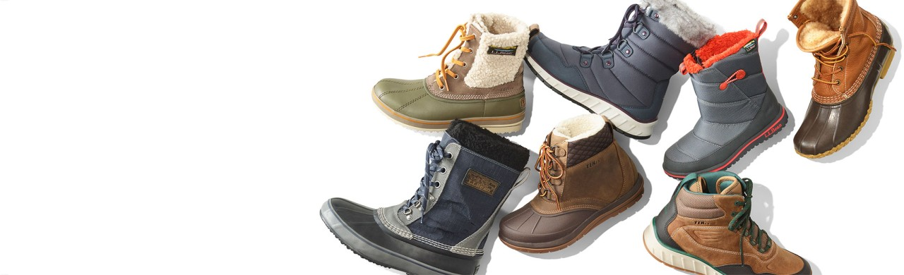 An assortment of boots for the whole family.