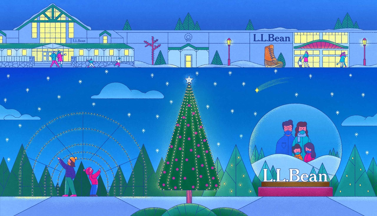 Illustration of the L. L. Bean Flagship Campus during the holidays.