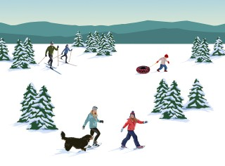Color illustration of several winter outdoor activities - cross-country skiing, sledding and snowshoeing.