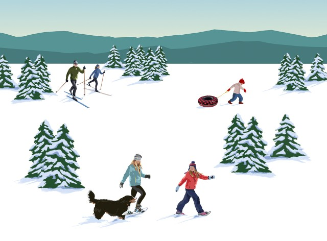 Illustration of people outside enjoying winter.