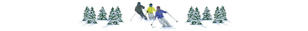 Illustration of 3 people alpine skiing.