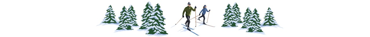 Illustration of 2 people cross-country skiing.
