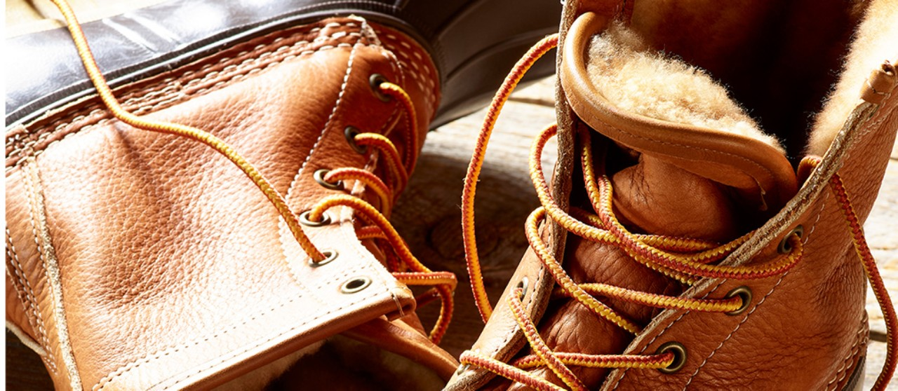 Close-up of a pair of shearling-lined Bean Boots.
