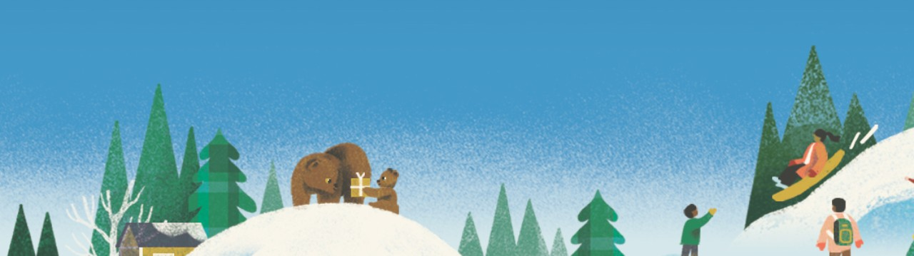Colorful illustration of a winter scene with green plaid trees, people sledding and bears exchanging gifts.