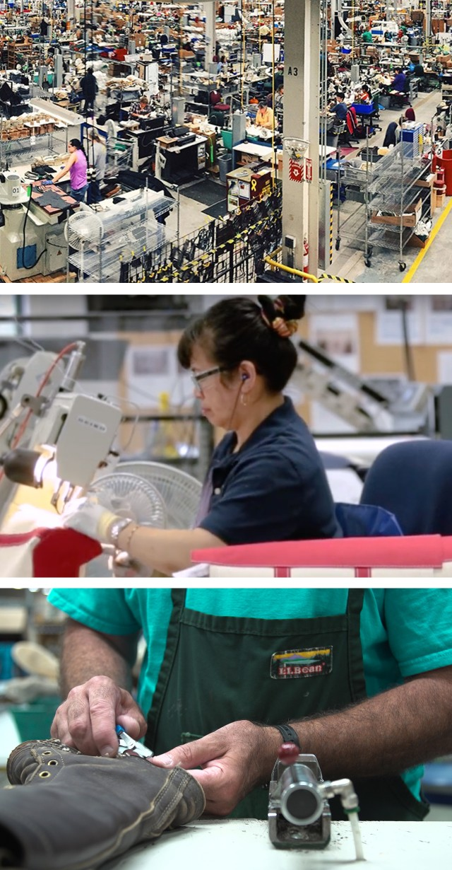 Collage of images of workers in factories.