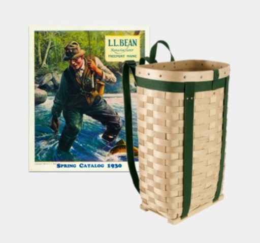 Photo of the pack basket with a catalog cover from 1930.