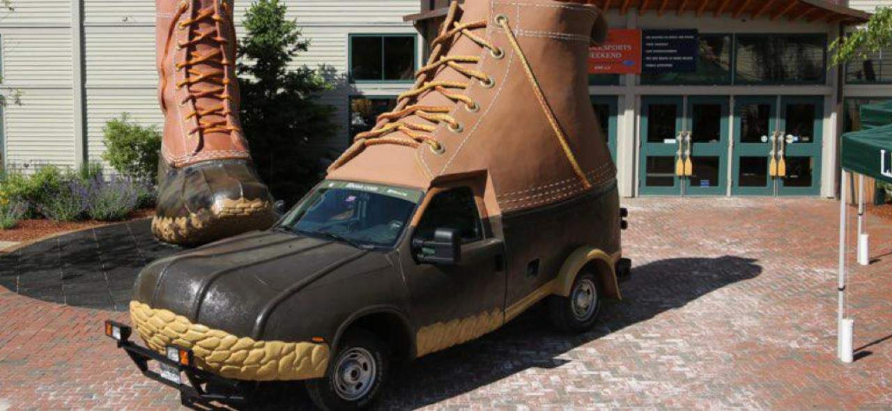 The L.L.Bean Bootmobile outside the flagship store in Freeport, Maine.