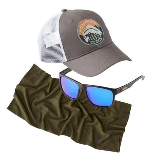 A L.L.Bean trucker hat, sunglasses, and Buff.
