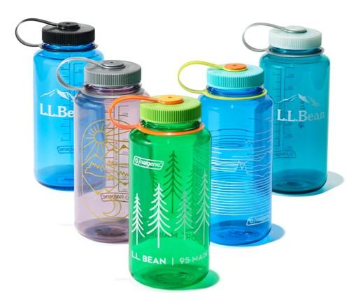 L.L.Bean Nalgene water bottles in various colors.