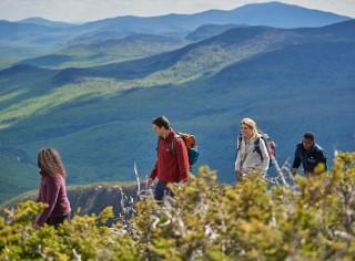 Four friends hiking along a mountain ridge.