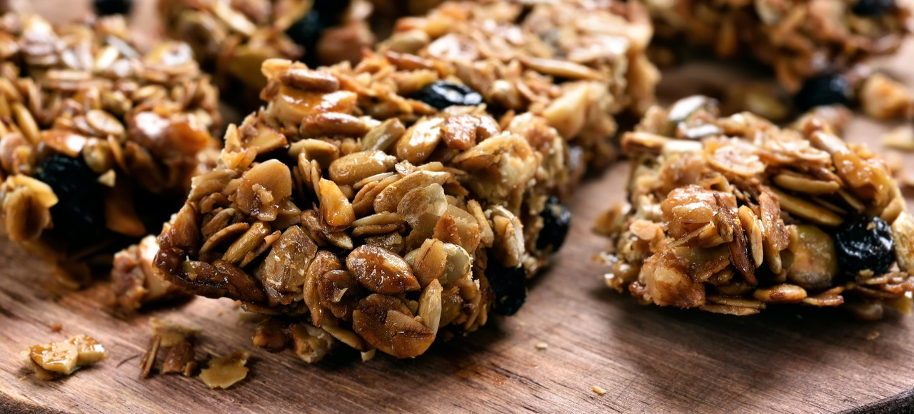 Homemade 5-ingredient energy bars on a cutting board.