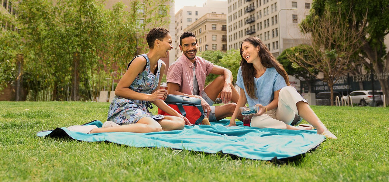 3 people sitting on a blanket in a city park having a picnic.